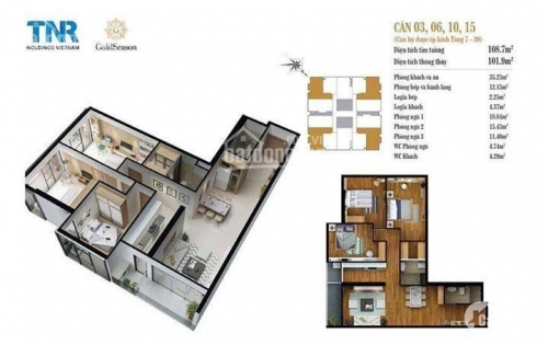 Cần bán căn góc 3N DT=110m2 giá 3,1tỷ, Penthouse 181m2 giá 4,5tỷ. TNR- GoldSeason 47 Nguyễn Tuân ĐT 0985 496 333