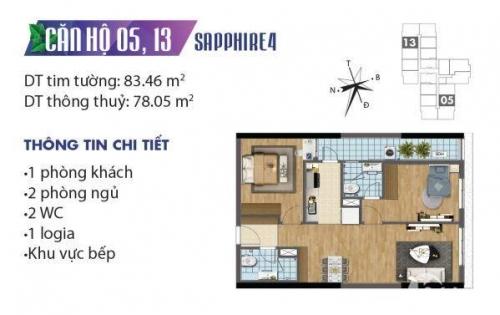 [Goldmark City]- Căn hộ 2 ngủ, tòa Sapphire 4, ban công Đông Bắc.