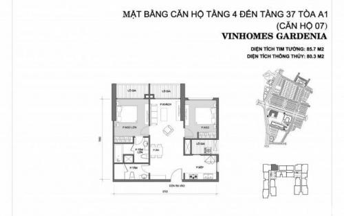 Cần bán chung cư 2 PN Vinhomes Gerdenia- Mỹ Đình