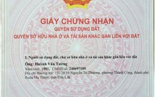 Bán đất thổ cư chính chủ 2 mặt tiền 113/44 Nguyễn Cơ Thạch, P. Thành Nhất, Tp. Buôn Ma Thuột, tỉnh Đắk Lắk.