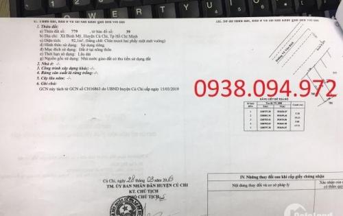 Cần Bán 2 Lô Đất MT Võ Văn Bích, Bình Mỹ. DT 92m2 Thổ Cư Giá Chỉ 1,3tỷ