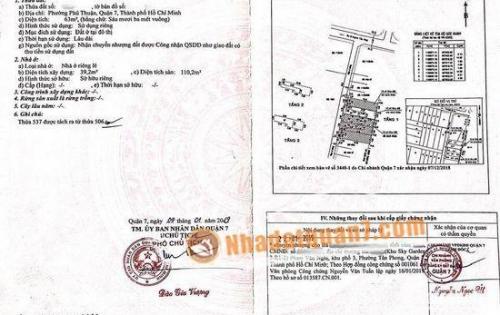 Cần bán đất thổ cư hẻm 1135 Huỳnh Tấn Phát, P. PT, Quận 7