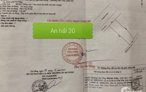Bán đất đường An Hải 20 quận Sơn Trà
