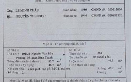 cần bán nhà 101/21 Nguyễn Văn Đậu, P5, Bình Thạnh. DT: 46.7m2  giá 4.45 tỷ.
