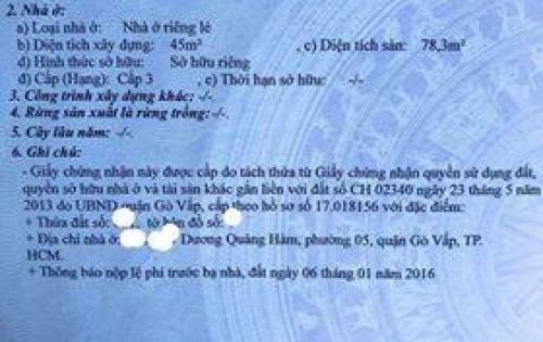 @@Nhà Nguyến Thái Sơn, Gò Vấp, 5x10, giá 3,65 Tỷ.@@