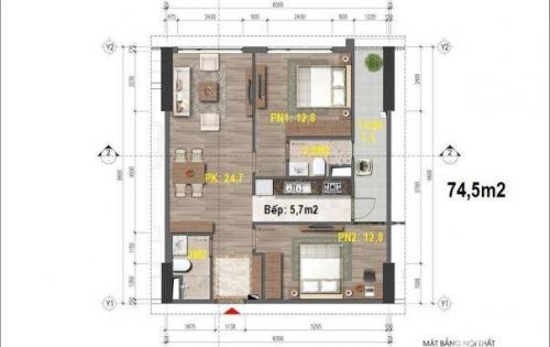 bán suất thương mại căn 74.5m2 dự án chung cư thương mại HH-43 Phạm Văn Đồng.LH 0975987928