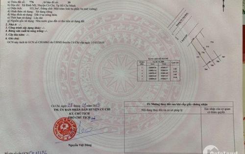 Gia đình tôi cần tiền bán gấp đất 103m2 thổ cư,MT Võ Văn Bích,sổ hồng riêng