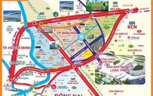 Đất nền mặt tiền đường lớn, thổ cư 100%, cách sân bay Long Thành 3km. SHR