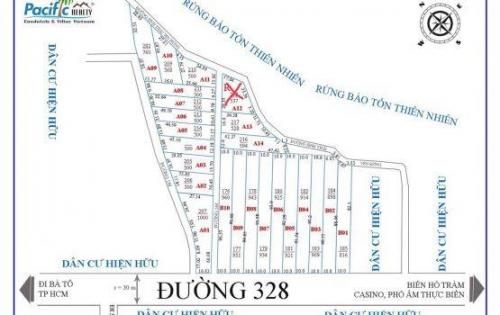 Bán đất nền mặt tiền đường 328 cách ngã tư Hồ Tràm 2,5km giá bán từ 800m2 đến 1000m2 thổ cư 100m2