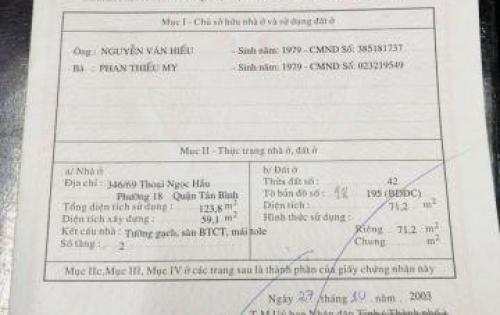 Cần bán nhà tại Thoại Ngọc Hầu, Tân Phú, TP. HCM