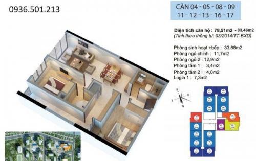 Căn hộ 2PN Goldmark City, nội thất cơ bản, đã có sổ hồng, view Đông Nam