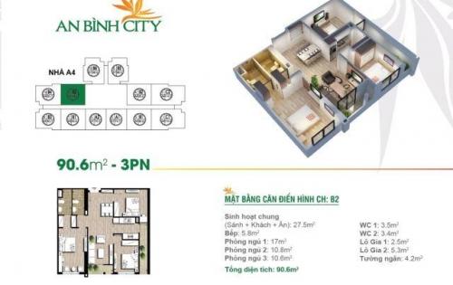 [An Bình City] Chính chủ bán căn 3PN tòa A8, tầng trung, ban công Nam thoáng mát, view hồ điều hòa và quảng trường trung tâm