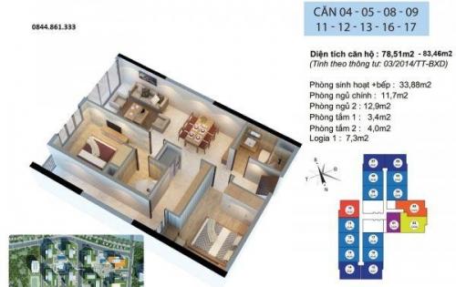 Cắt lỗ căn hộ 2PN, tầng trung đẹp, view Đông Nam, tòa R2 Goldmark City
