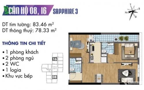 Bán nhanh căn hộ 16, 2PN diện tích 78m2 thông thủy, giá 2,3 tỷ