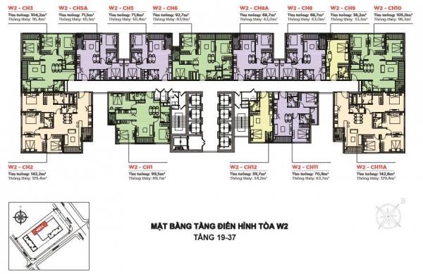 Mặt bằng tầng điển hình (tầng 19 – 37) tòa tháp West 2 khu căn hộ Vinhomes West Point