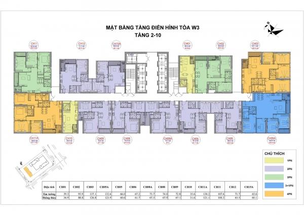 Mặt bằng tầng điển hình (tầng 2 – 10) tòa tháp West 3 khu chung cư Vinhomes West Point