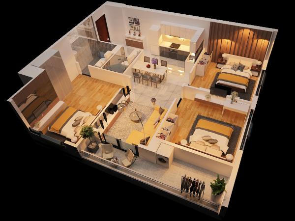 Phối cảnh 3D căn hộ 3 phòng ngủ tại Monarchy Đà Nẵng (block B)