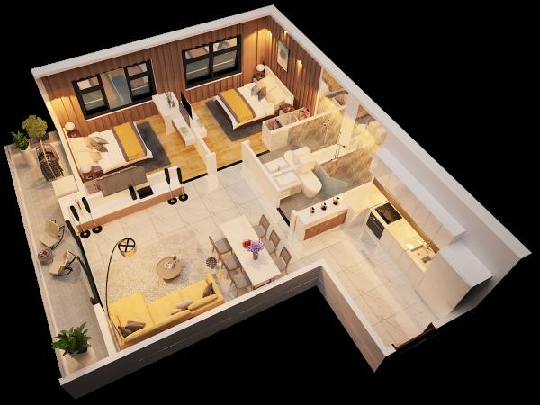 Phối cảnh 3D căn hộ 2 phòng ngủ tại Monarchy Đà Nẵng (block B)