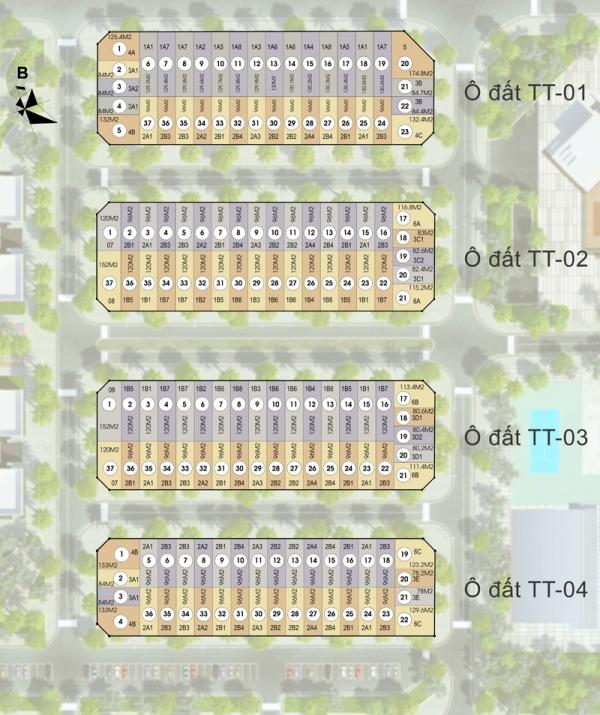 Mặt bằng tổng thể khu thấp tầng của dự án Mon City Mỹ Đình