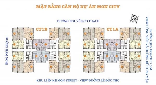 Mặt bằng tổng thể khu cao tầng của dự án Mon City Mỹ Đình