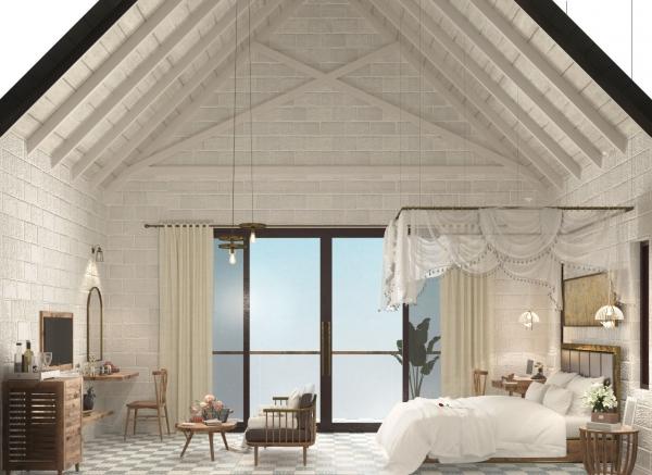 Phòng ngủ tại nhà mẫu dự án Perolas Villa thuộc tỉnh Bình Thuận
