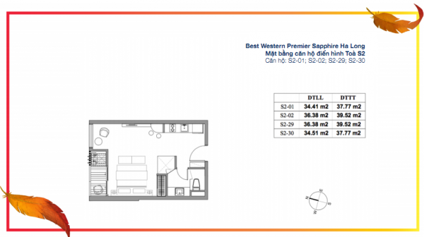 Mặt bằng căn hộ studio điển hình (căn S2-01, S2-02, S2-29, S2-30) tòa S2 của dự án Best Western Premier Sapphire Ha Long