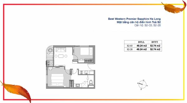 Mặt bằng căn hộ junior suite điển hình (căn S2-03, S2-28) tòa S2 của dự án Best Western Premier Sapphire Ha Long