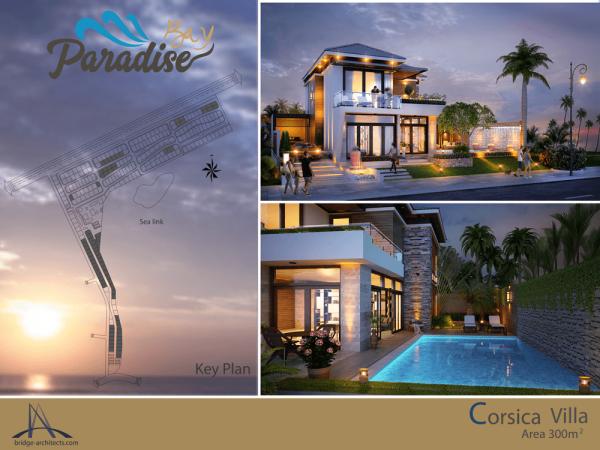 Mặt bằng và phối cảnh căn biệt thự Corsica của dự án Paradise Bay Phan Thiết