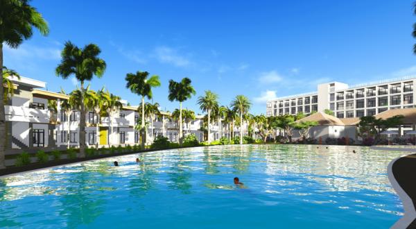 Phối cảnh khuôn viên hồ bơi tại khu nghỉ dưỡng Diamond Bay Condotel Resort Nha Trang