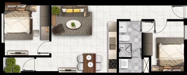 Phối cảnh mẫu căn hộ số 2 dự án căn hộ Napoleon Castle I Nha Trang