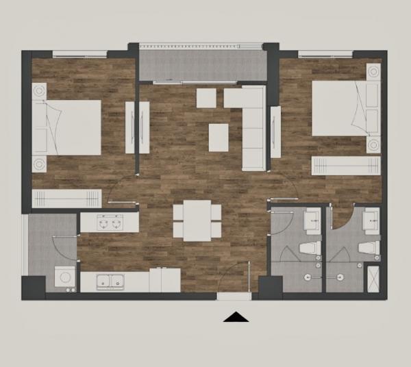 Mặt bằng căn condotel 2 phòng ngủ Golden Lotus Suite rộng 69,04m2 tại Mandala Luxury Apartment