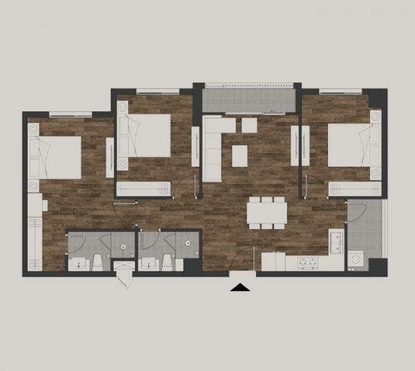Mặt bằng căn Mandala Suite 3 phòng ngủ có diện tích 83,9m2