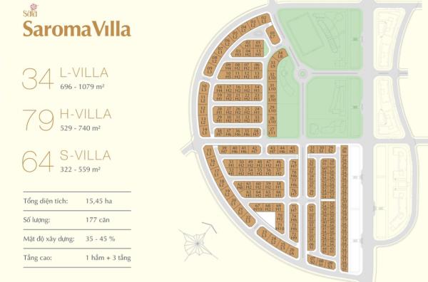 Mặt bằng tổng thể dự án biệt thự Saroma trong khu đô thị Sala tại quận 2