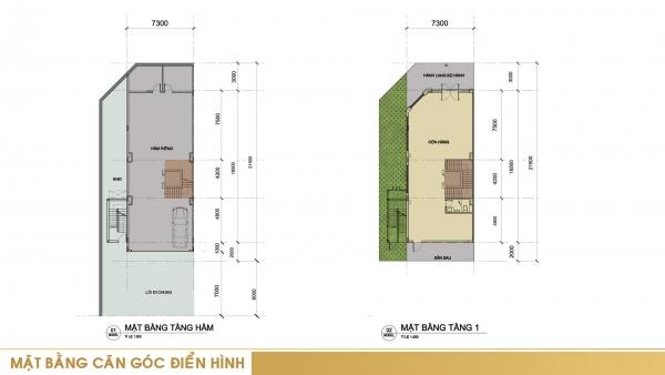 Mặt bằng tầng hầm và tầng 1 căn góc điển hình trong dự án Sari Town