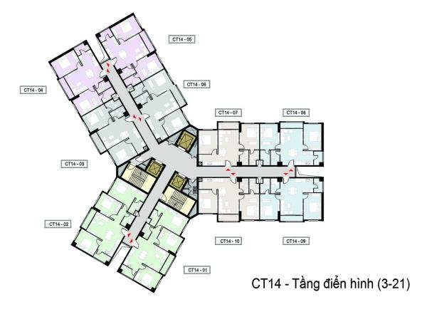 Mặt bằng tầng điển hình (tầng 3 – 21) tòa condotel Mandala Luxury Apartment