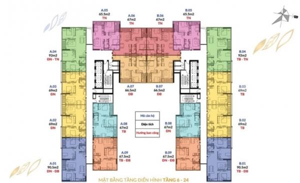 Mặt bằng tầng điển hình (tầng 6 – 24) dự án căn hộ Athena Complex tại quận Hoàng Mai