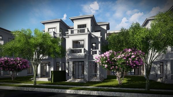 Phối cảnh căn biệt thự song lập dự án khu đô thị VCI Mountain View Vĩnh Yên