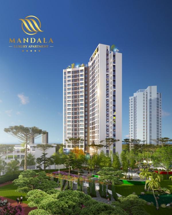 Phối cảnh tổng thể tòa tháp căn hộ condotel Mandala Luxury Apartment trong quần thể dự án Hong Ha Eco City Hà Nội