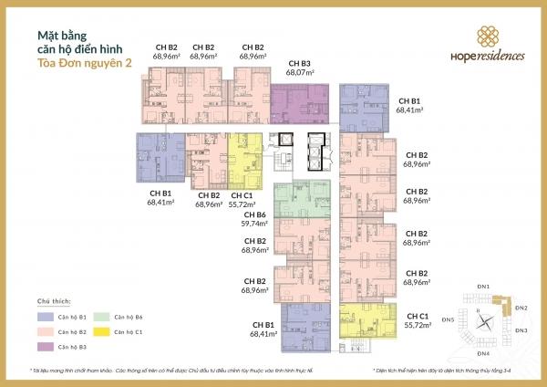 Mặt bằng tầng điển hình đơn nguyên 2 dự án chung cư Hope Residences Long Biên