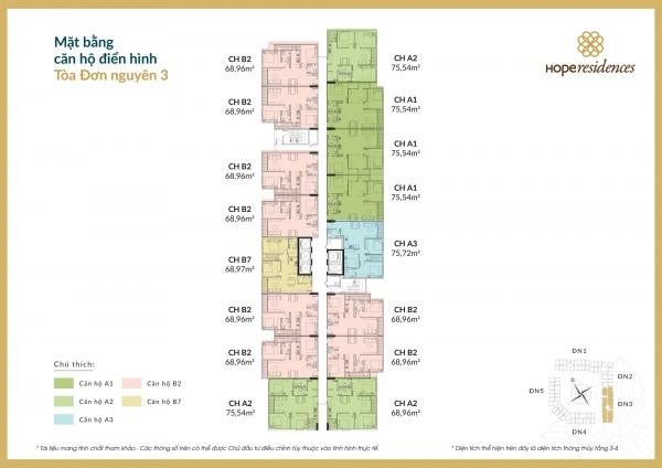 Mặt bằng tầng điển hình đơn nguyên 3 của chung cư Hope Residences Long Biên
