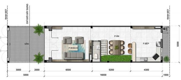 Mặt bằng tầng điển hình (tầng trệt) căn nhà phố vườn tại khu biệt thự Văn Hoa tỉnh Đồng Nai