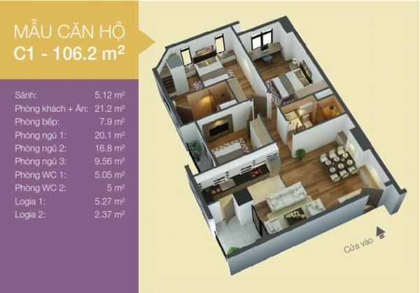 Mặt bằng căn hộ C1 điển hình rộng 106,2m2 của dự án căn hộ An Bình I quận Hoàng Mai
