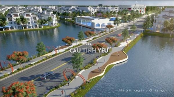 Phối cảnh cây cầu tình yêu ngay giữa hồ điều hòa dự án Vinhomes Marina