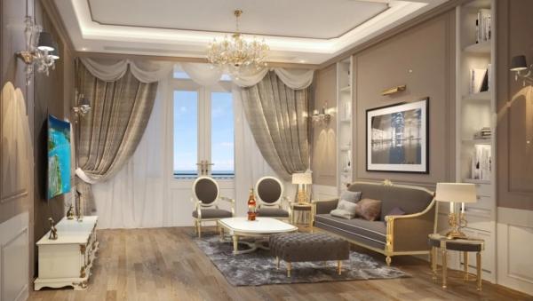 Phòng khách tại nhà mẫu The Riviera villas – khu đô thị King Bay