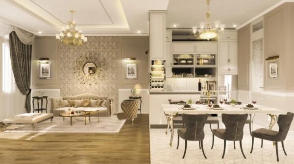 Phòng ăn tại nhà mẫu The Riviera villas – khu đô thị King Bay