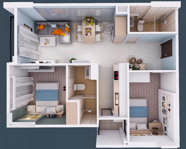 Phối cảnh 2D căn hộ A1 dự án Thịnh Phát Tower