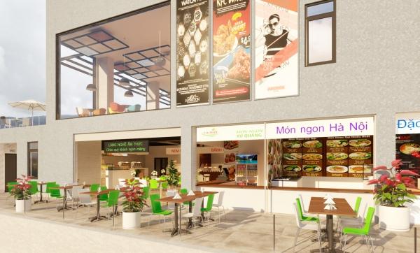 Phối cảnh khu foodcourt trong siêu thị du lịch làng nghề (Đà Lạt Travel Mall)