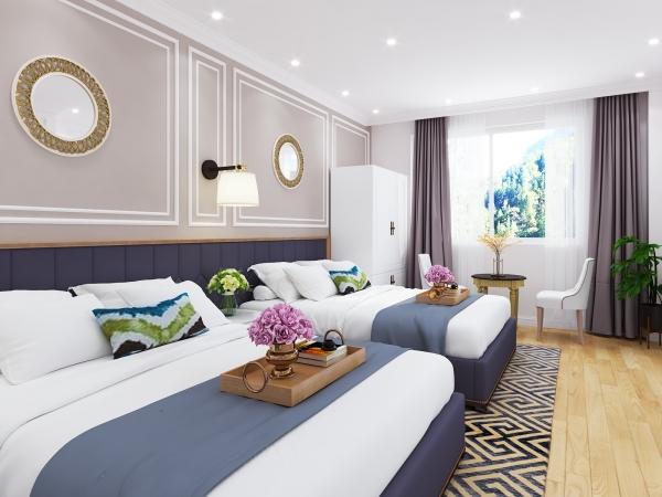 Phối cảnh phòng ngủ khu khách sạn của dự án Đà Lạt Travel Mall