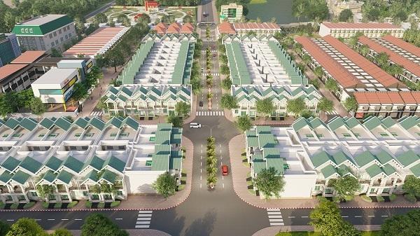 Phối cảnh một phần dự án Tân An Riverside Bình Định nhìn từ trên cao
