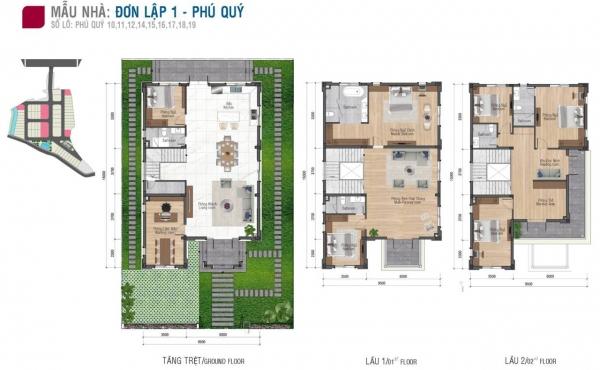 Mặt bằng căn biệt thự đơn lập điển hình (biệt thự Phú Quý) nằm tại lô 10, 11, 12, 14, 15, 16, 17, 18, 19